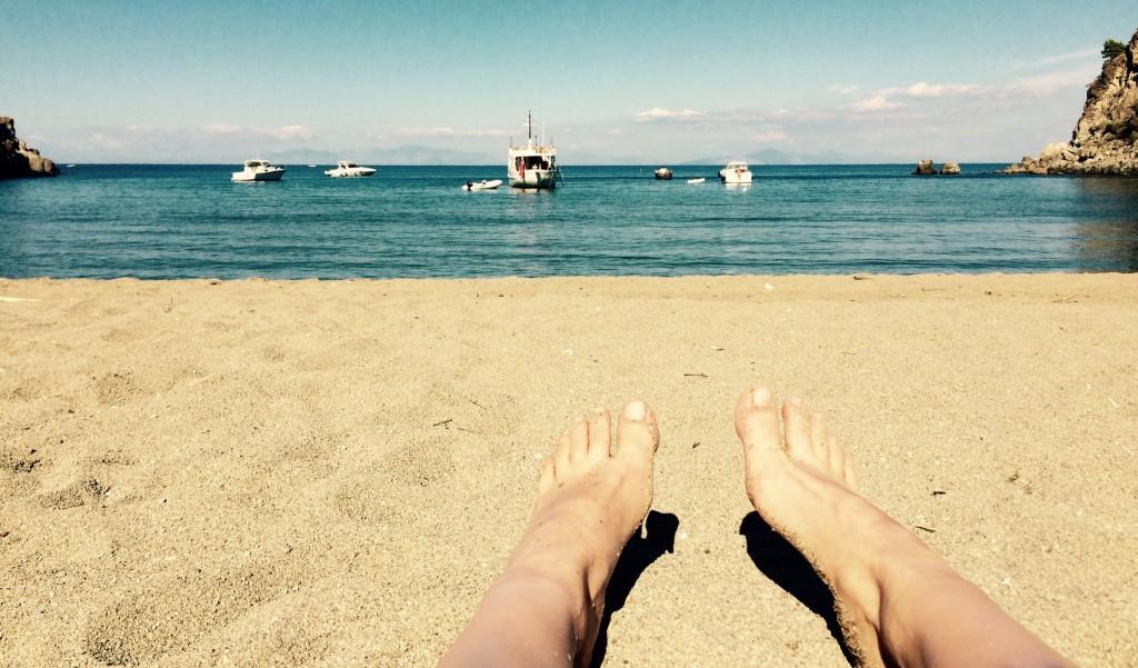 Meine Füsse am Sandstrand