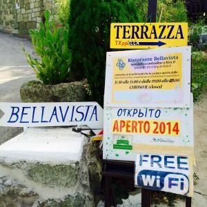 Eingangsschilder Ristorante Bellavista