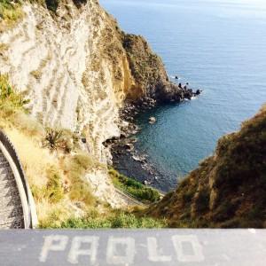 Blick herunter auf die Sorgeto Bucht