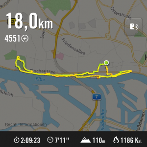 Screenshot von der Nike+ App über meinen 18k Lauf